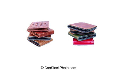 Group wallet of leather rotating on isolated