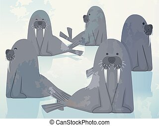 Group Walrus Herd Illustration - Illustration of a Group of...