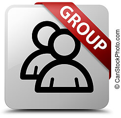 Group white square button red ribbon in corner