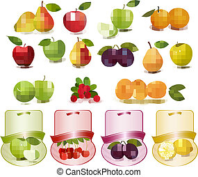 Group with different sorts of fruit and labels.