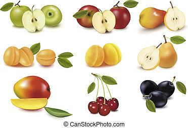 Group with different sorts of fruit