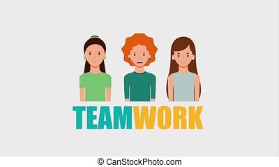 group women characters teamwork lettering animation hd