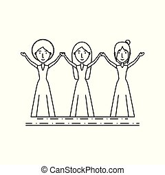 group women people with the hands up
