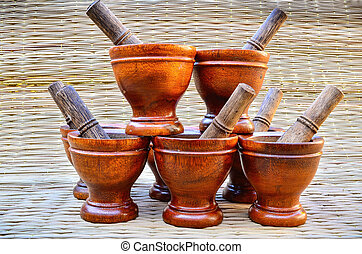 Group Wooden mortar with pestle