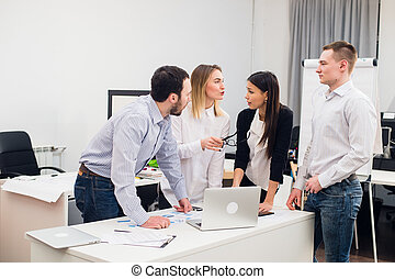 Group Young Coworkers Making Great Business Decisions. Creative Team Discussion Corporate Work Concept Modern Office. Startup Marketing Idea Presentation.