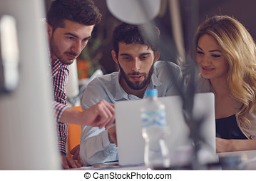 Group Young Coworkers Making Great Business Decisions.Creative Team Discussion Corporate Work Concept Modern Office.