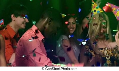 Group young people. party : middle of the night club African American. Slow motion