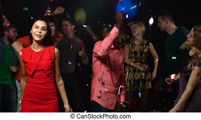 Group young people. party : middle of the night club African American