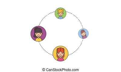 group young women character net work animation hd