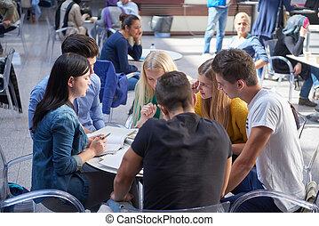 groupe, étudiants, étude