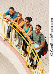 groupe, étudiants, collège, africaine, vue haut