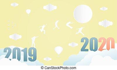 groupe, 2020., année, sauter, 2019, gens