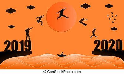 groupe, 2020., année, sauter, 2019, gens, silhouette