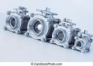groupe, 4, valves, localisé, sur, les, diagonal, différent, tailles