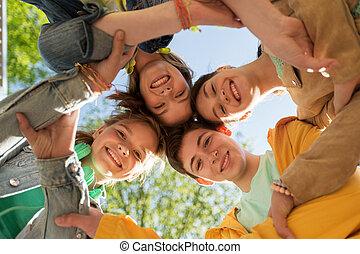 groupe, adolescent, amis, heureux