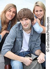 groupe, adolescent, amis