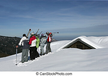 groupe adolescents, dans, neige, fetes