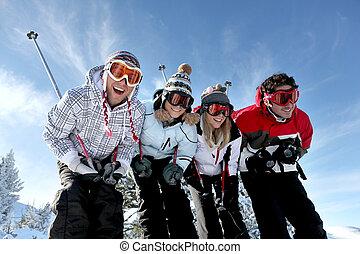 groupe, ados, ski