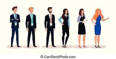 groupe, affaires gens, caractère, avatar