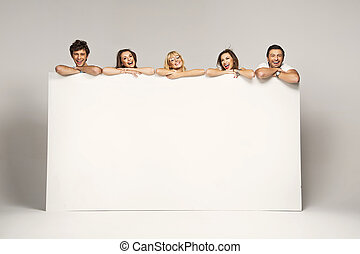 groupe, amis, affiche, blanc, afficher, joyeux, heureux
