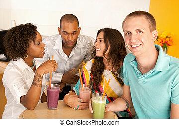 groupe amis, conversation