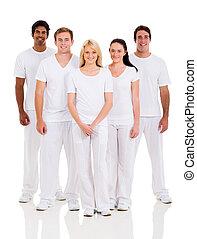 groupe amis, dans, blanc