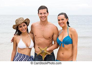 groupe, amis, etoile mer