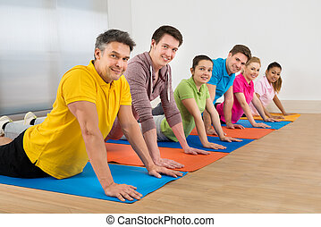 groupe, amis, multiethnic, exercisme