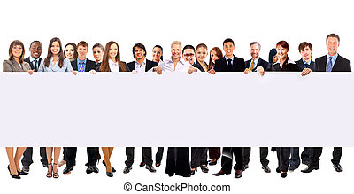 groupe, annonce, professionnels, isolé, tenue, blanc, bannière