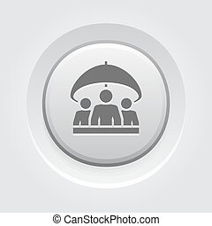 groupe, assurance-vie, icon., gris, bouton, design.