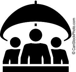 groupe, assurance-vie, icon., plat, design.