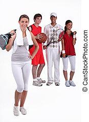 groupe, athlètes, jeune