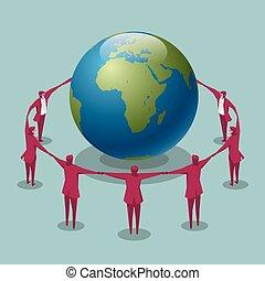 groupe, autour de, blue., fond, hommes affaires, tenant mains, earth.