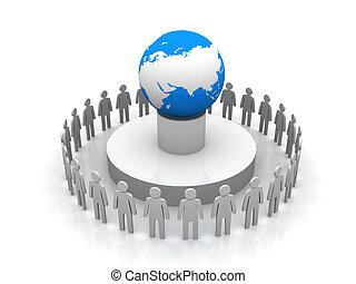 groupe, autour de, professionnels, former, globe, la terre, cercle