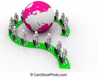 groupe, autour de, professionnels, former, globe, point interrogation, la terre