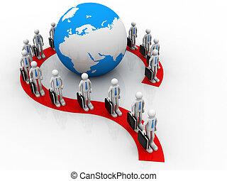 groupe, autour de, professionnels, former, point interrogation, globe;, of;, la terre