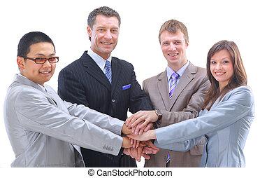 groupe, autre, sommet, mains, -, une, entassé, collaboration, multi-ethnique, fond, esprit équipe