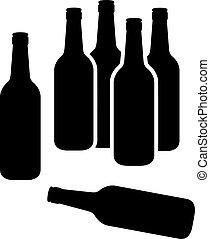 groupe, bouteilles bière