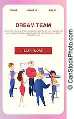 groupe, bureau affaires, créatif, collaboration, bannière