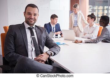 groupe, bureau affaires, gens