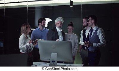 groupe, bureau, affaires gens, informatique, parler.