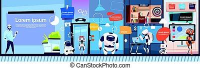 groupe, bureau, business, fonctionnement, compagnie, moderne, espace, robots, équipe, copie, bannière, cyborg