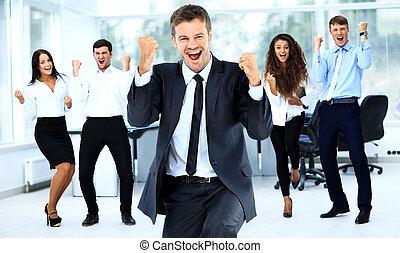 groupe, bureau, business, réussi, portrait, heureux
