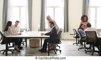 groupe, bureau fonctionnant, gens, affaires modernes, divers, intérieur, personnel