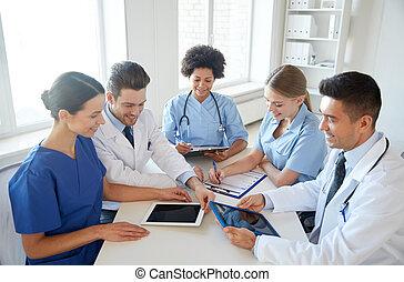groupe, bureau, médecins hôpital, réunion, heureux