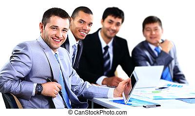 groupe, bureau, professionnels, jeune, réunion, heureux