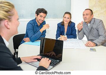 groupe, bureau, professionnels, réunion, avoir