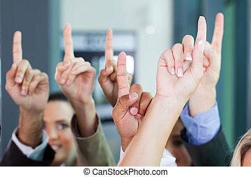 groupe, business, élévation, mains
