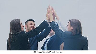 groupe, business, célébrer, gens, élevé, leur, collaboration, cinq