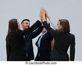 groupe, business, célébrer, gens, élevé, leur, collaboration, five.
